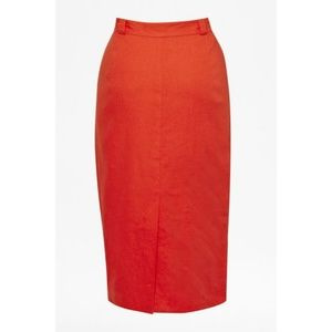 French Connection Orange Pencil Skirt (Size 10)